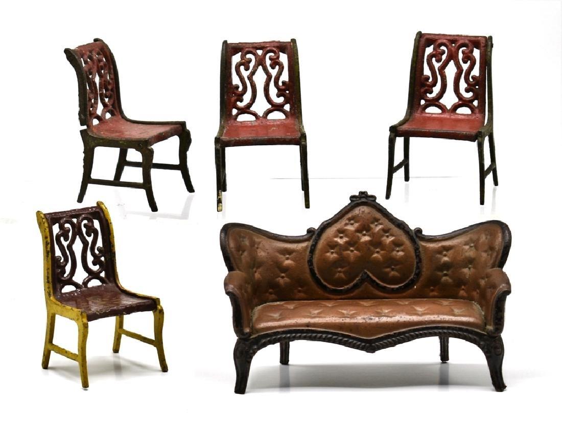 Antique Stevens & Brown Iron Dollhouse Sofa & Chairs