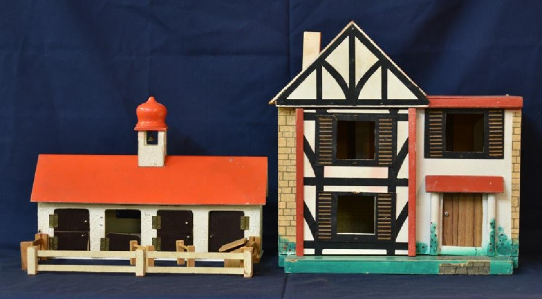 English Mid-Century Dollhouse & Stable