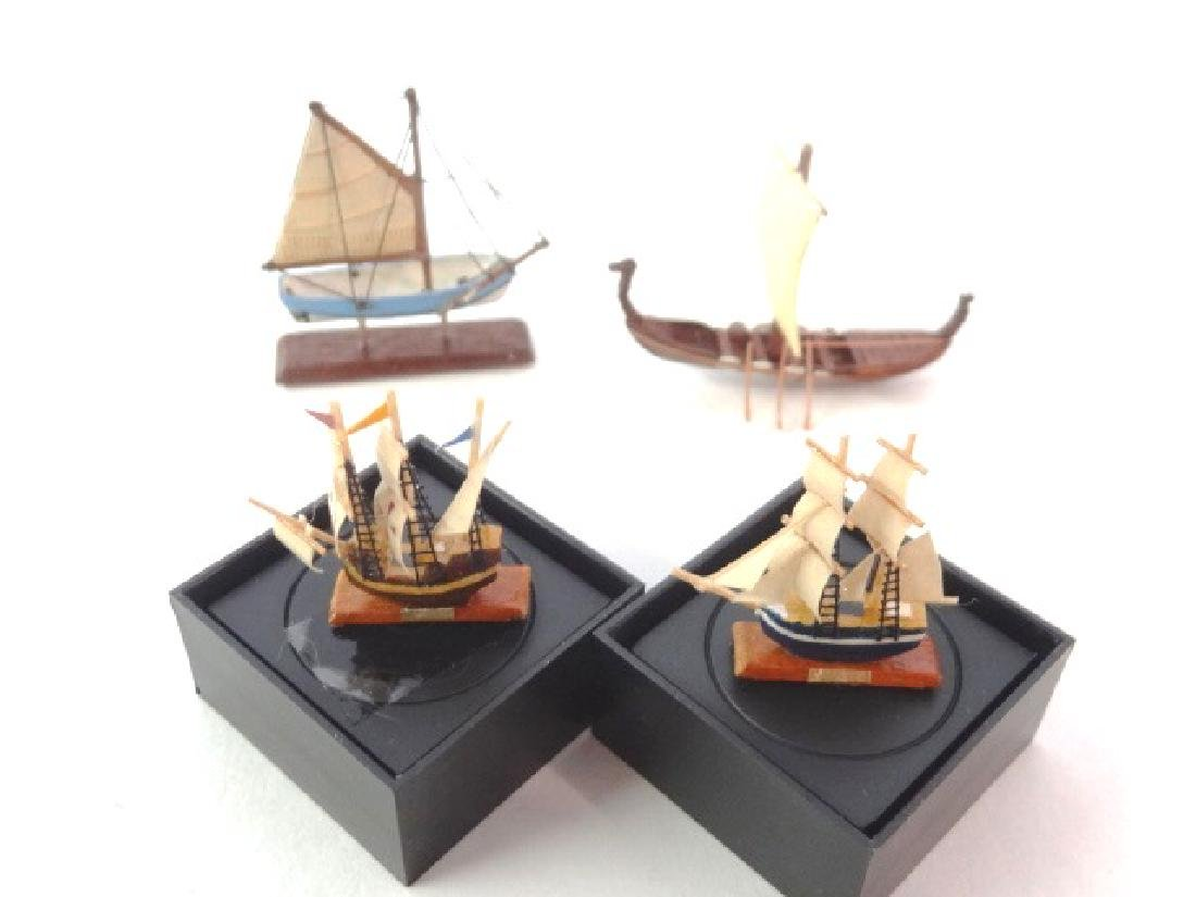 Four Dollhouse Ship Models Miniatures