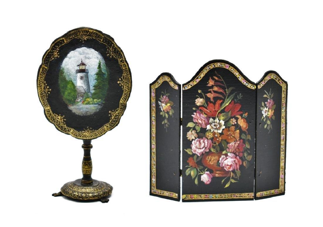 Marjorie Adams Painted Dollhouse Table & Natasha Screen