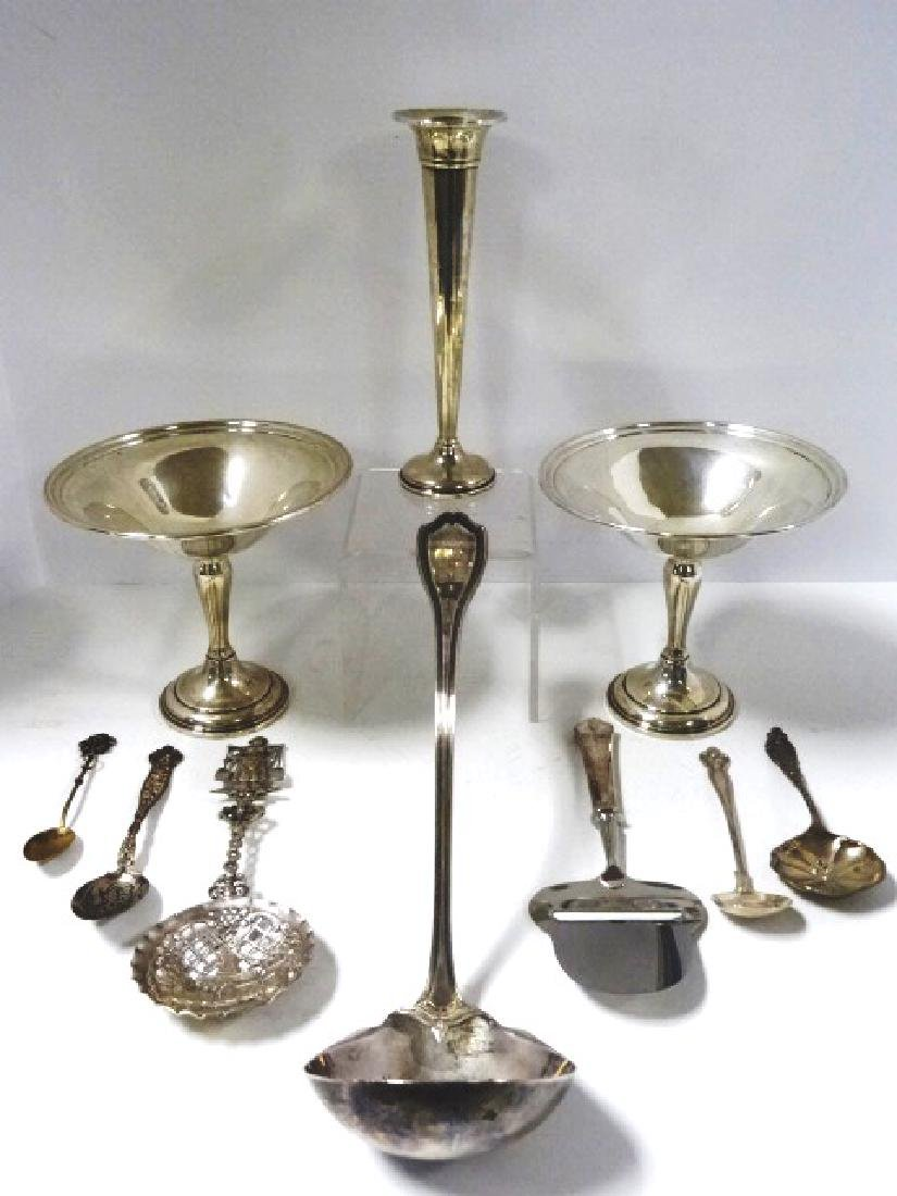 Sterling Ladle, Spoons, Compotes & Vase