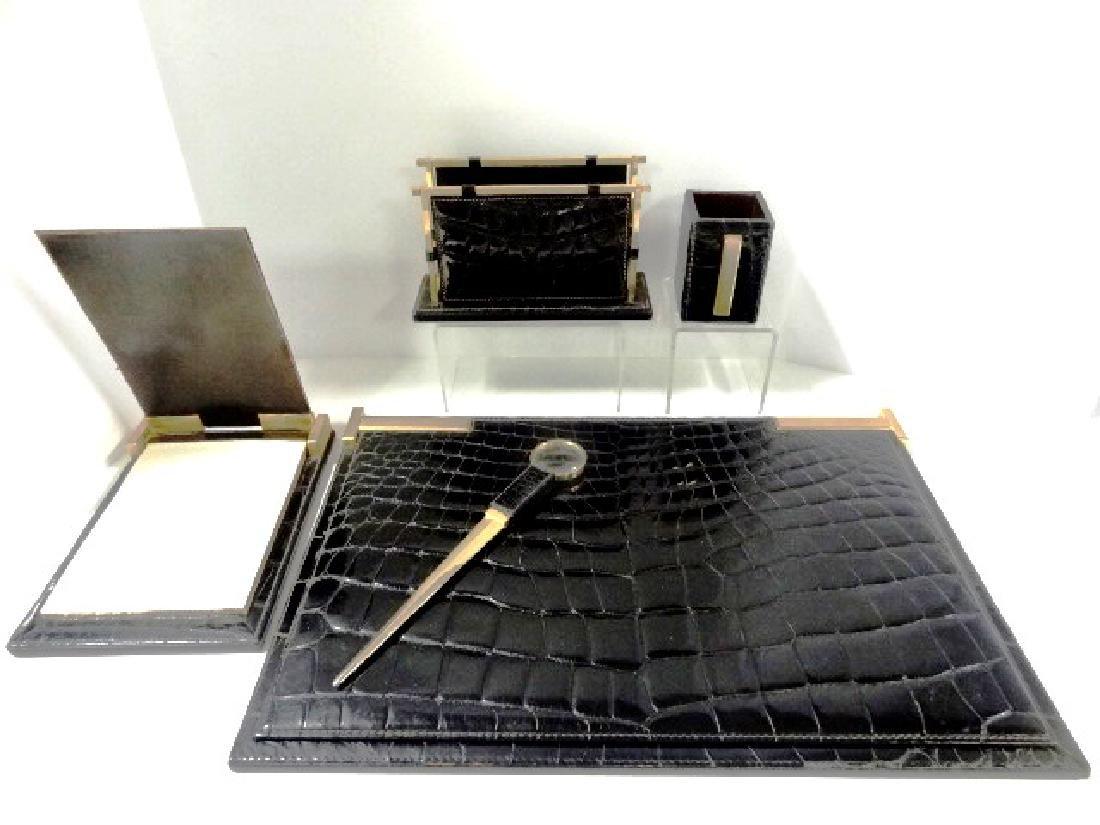 Vintage Pineider Crocodile Desk Set