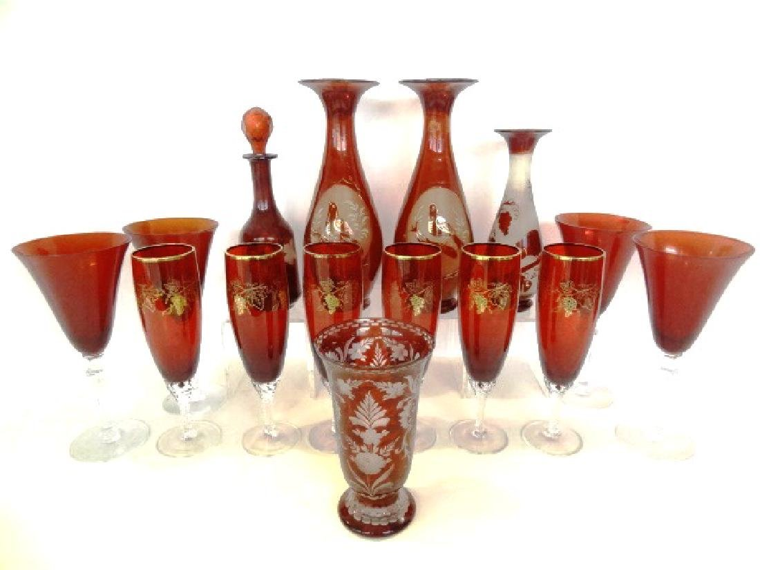 Large Lot Of Ruby Glassware