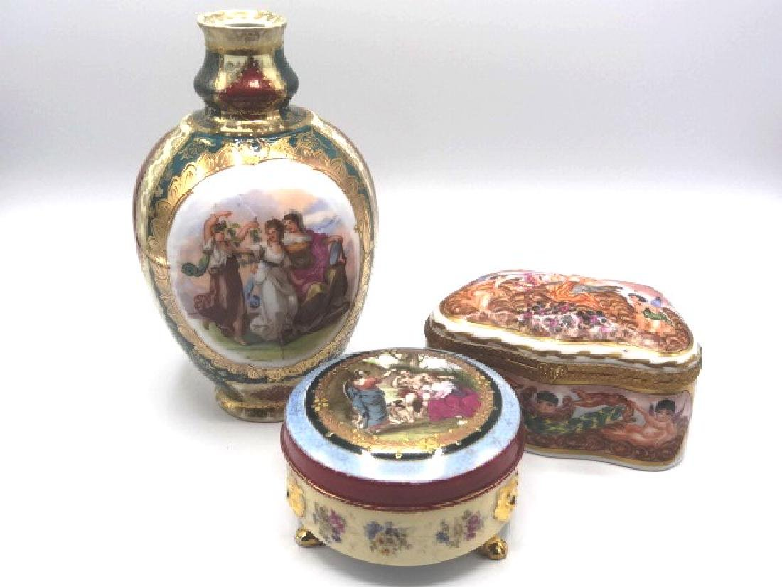 Grouping of Austrian Vase and Hair Receiver