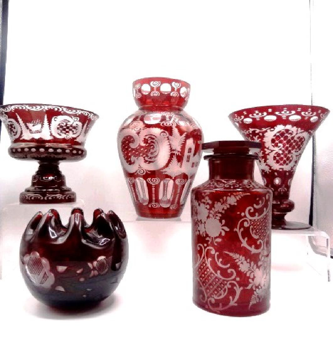 Bohemian Cranberry Glass Collection