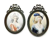 Pair Antique French Hand Painted Miniature Portraits