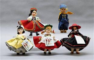 Five Madame Alexander Country Dolls