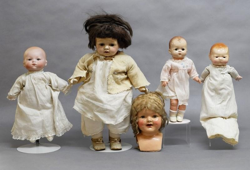 Five Dolls Bisque Bye-Lo, Composition, Hard Plastic and