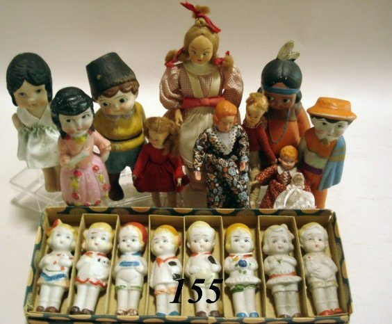 155: All Bisque Dolls, Some OB