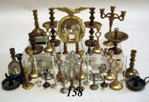 158: Brass, Pewter Candles, Mirrors