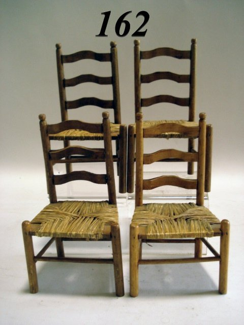 162: Vintage Four Ladderback Rush Seat Chairs