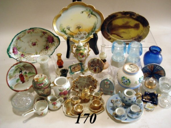 170: Porcelain dollhouse dishes, candles, glass