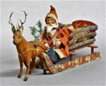 Antique Reindeer Candy Container & Santa Sleigh