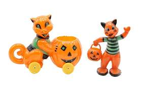 Two Vintage Cat Halloween Candy Containers