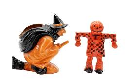 Vintage Witch  Scarecrow Candy Containers