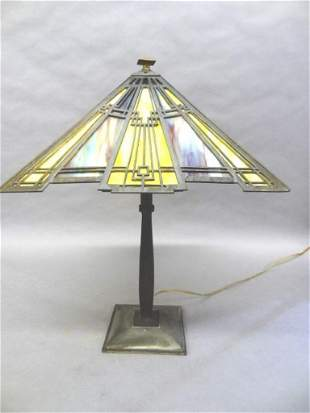 Vintage Art Deco Stained Glass Lamp
