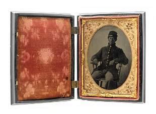 Civil War Soldier 1/4 Plate Ferrotype Photo