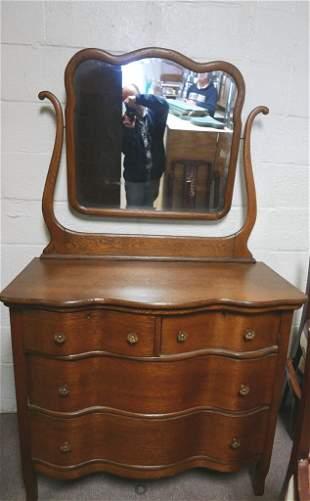Victorian Oak Dresser With Mirror