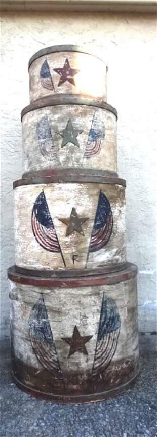 Set Of 4 Antique Circus Pedestals