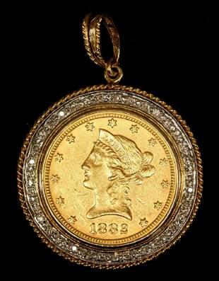 1882 Liberty Head Gold Eagle in Gold & Diamond Pendant