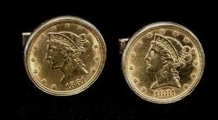 Pair 1881 Half Eagle Gold Coins In Cufflinks