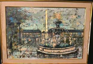 Mid-Century Large Cityscape Oil Painting
