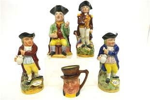 Four Large Staffordshire Toby Mugs & Other