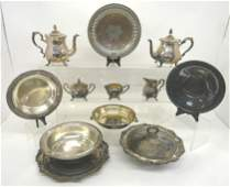 Large Group of Silver-Plate Serving Pieces