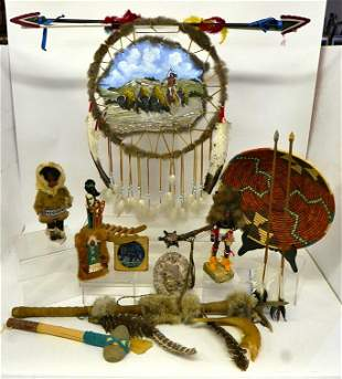 Native American Fur Trimmed Dolls & Crafts