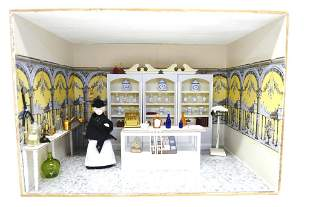 Small Furnished Pharmacy Room Box Dollhouse