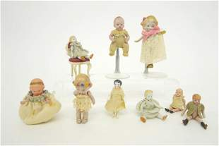 Vintage Bisque, China & Celluloid Dollhouse Dolls