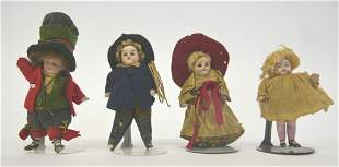 Four Antique Bisque Dollhouse Dolls