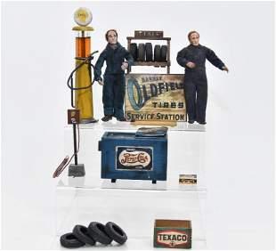 Two Marcia Backstrom Mechanic Dolls & Accessories