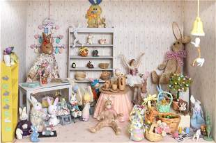 Furnished Easter Bunny Room Box Dollhouse