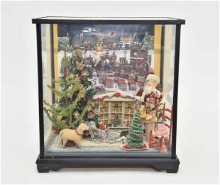 Small Christmas Furnished Room Box Dollhouse