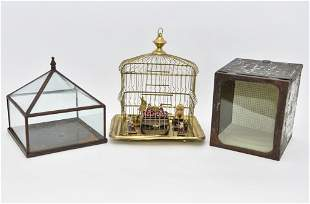 Three Antique Tin and Brass Room Box Dollhouses