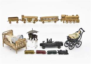 Small Antique Metal Miniature Toys & Furniture