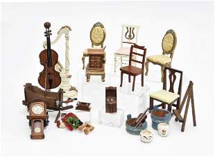Lot Of Dollhouse Wood Accessories