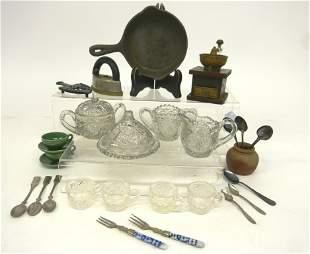 Vintage Doll Accessories Glassware, Coffee Grinder etc.