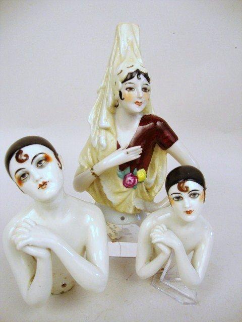 Three Porcelain Half Dolls,