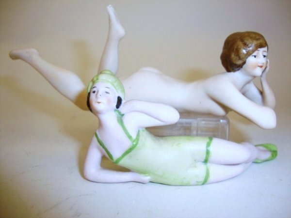 Bisque Bathing Beauty & Nude Bisque Reclining Figure