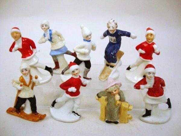 German Miniature Bisque Ski Figures