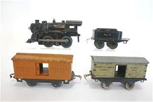 Ives Die Cast Engine, Tender 2 Box Cars