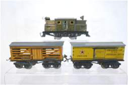 Ives Electric Locomotive, Box Car, Live Stock Car