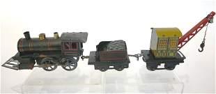 Germany Clockwork Tin Locomotive, Tender, Crane Car