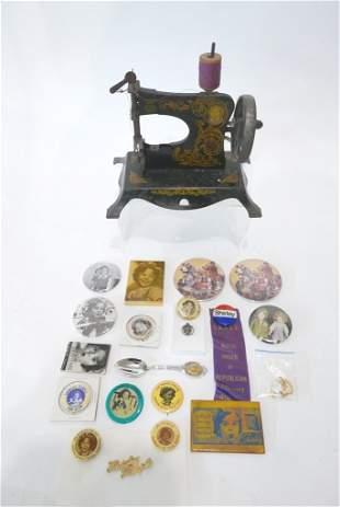 Lindstrom Tin Sewing Machine & Box Shirley Pins, etc