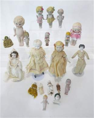 Large Lot of Miniature Bisque and China Head Dolls