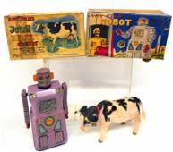 RARE LAVENDER  TIN ROBOT  & Rosko Walking Cow