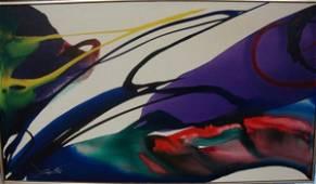 227: Paul Jenkins oil on canvas.