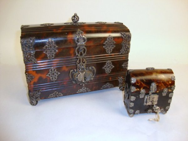343: Pair of Hand-carved Tortoiseshell Caskets